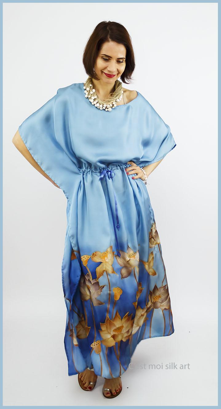 selyem ruha kézzel festett kék lótuszokkal 08