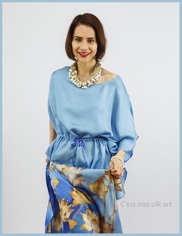 selyem ruha kézzel festett kék lótuszokkal 09