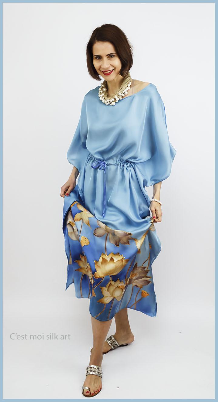 selyem ruha kézzel festett kék lótuszokkal 10