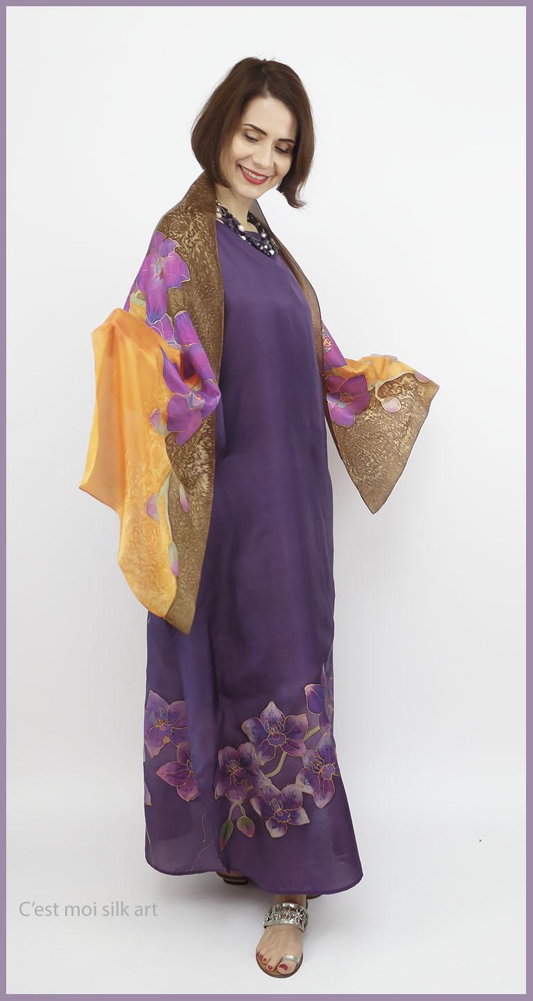 selyem ruha kézzel festett lila lótuszokkal 02