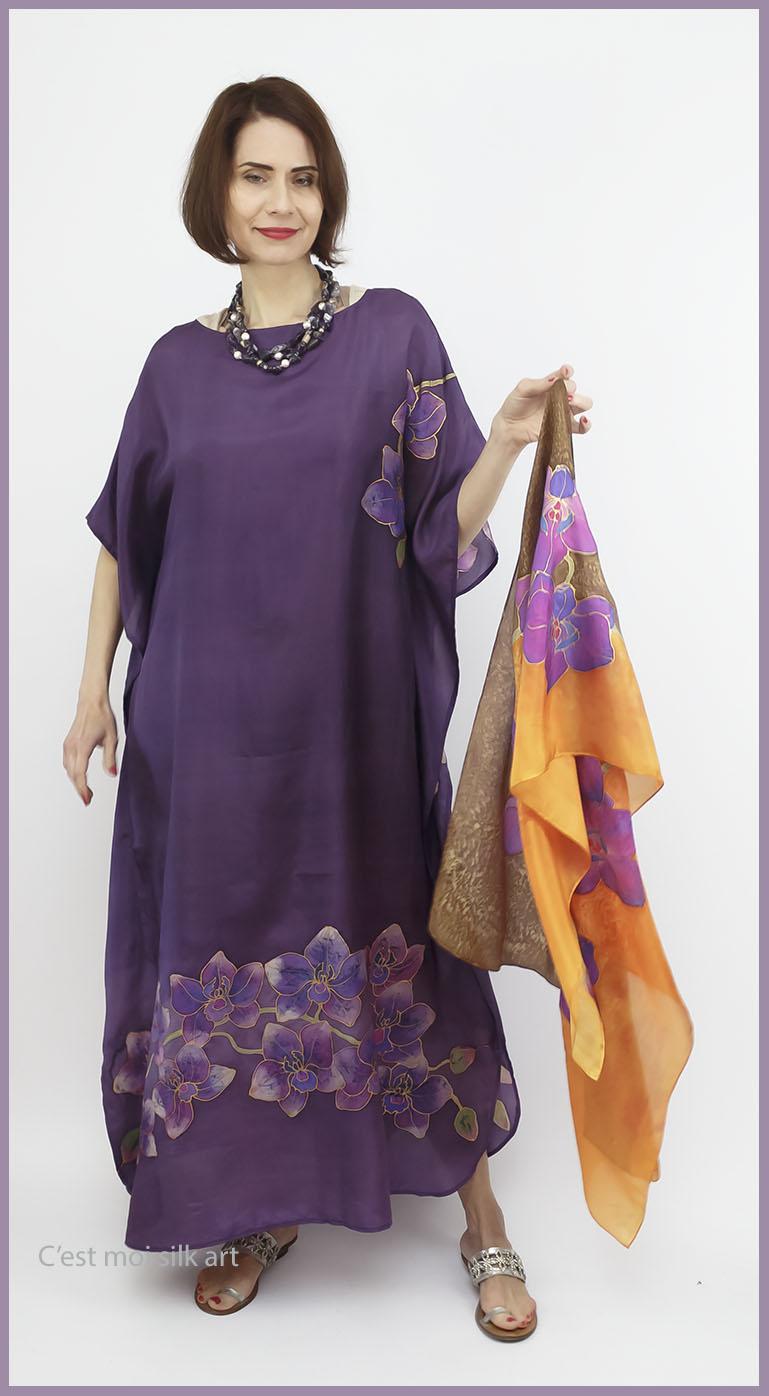 selyem ruha kézzel festett lila lótuszokkal 03