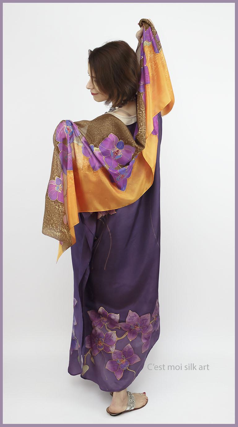 selyem ruha kézzel festett lila lótuszokkal 04