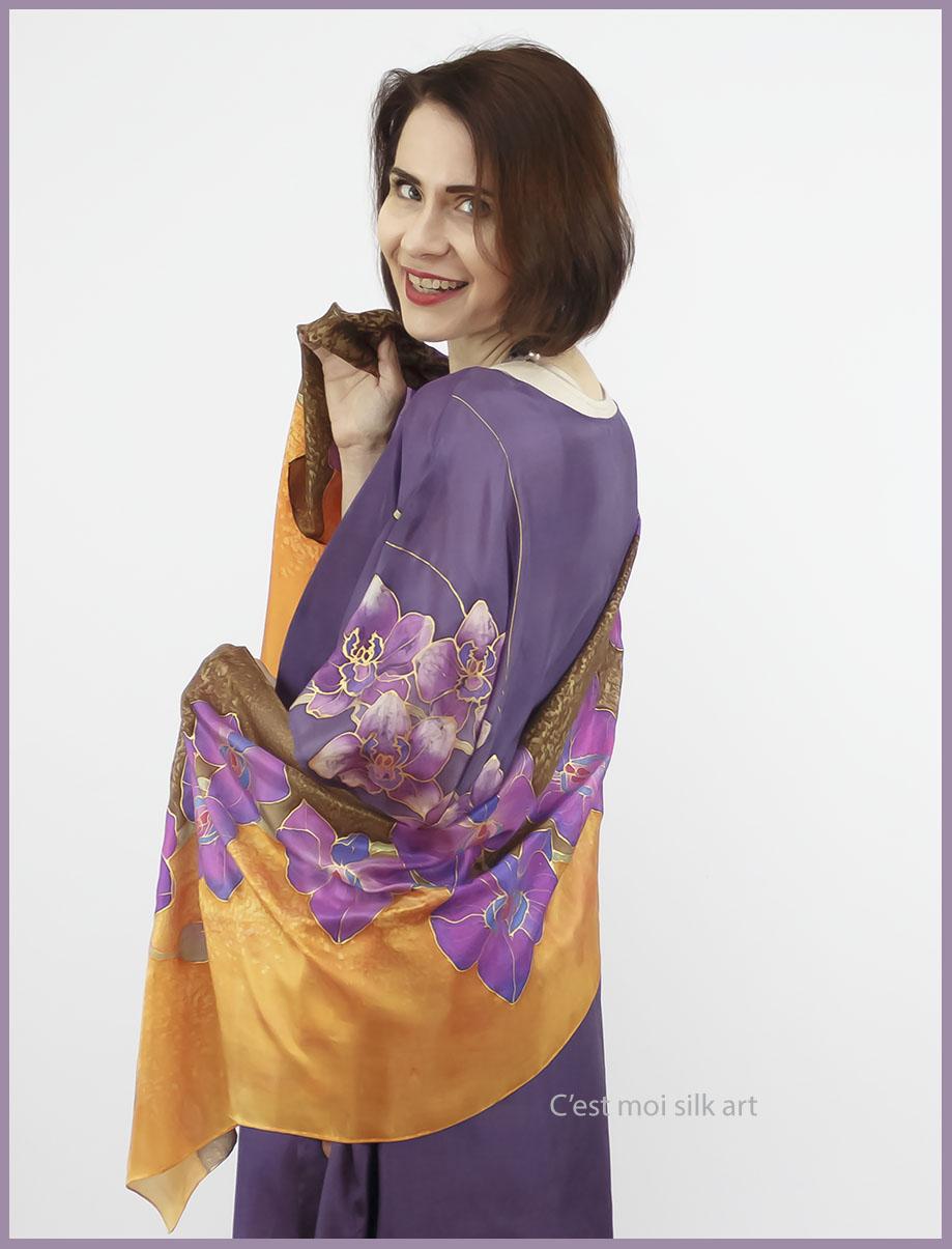 selyem ruha kézzel festett lila lótuszokkal 05