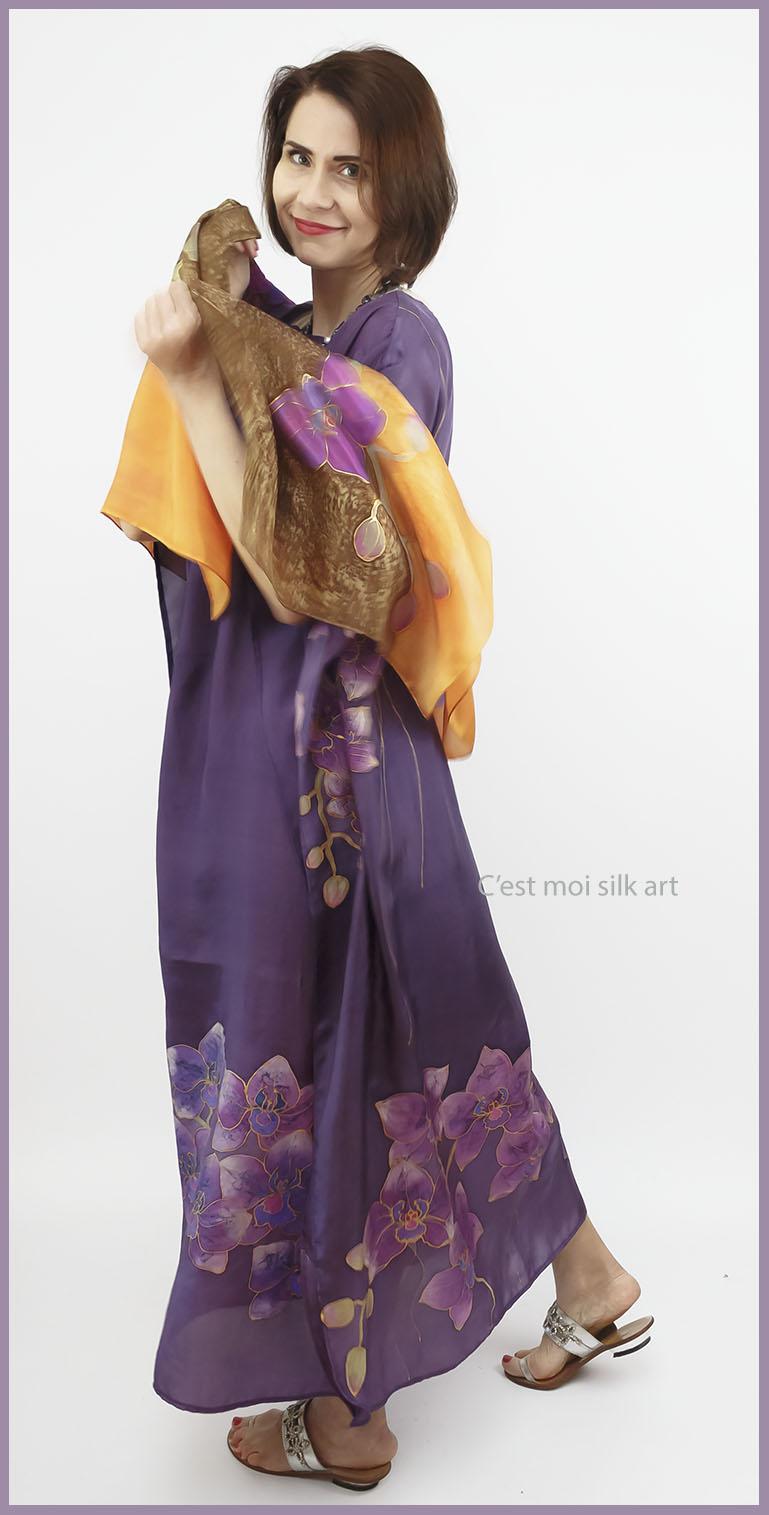 selyem ruha kézzel festett lila lótuszokkal 06