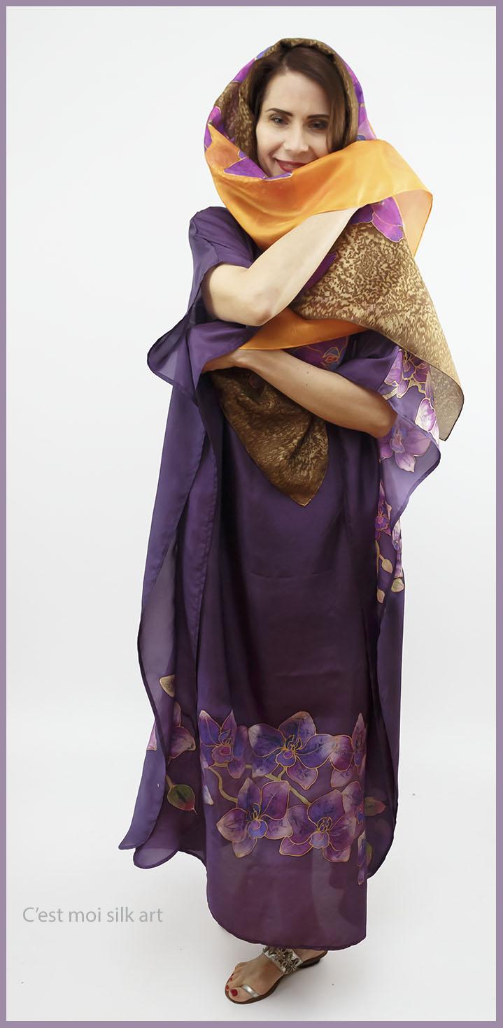 selyem ruha kézzel festett lila lótuszokkal 07