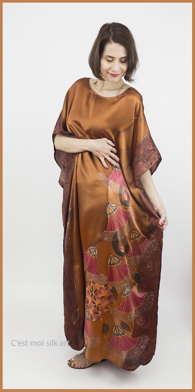 selyem szatén ruha bronz élet virága papiruszokkal 01