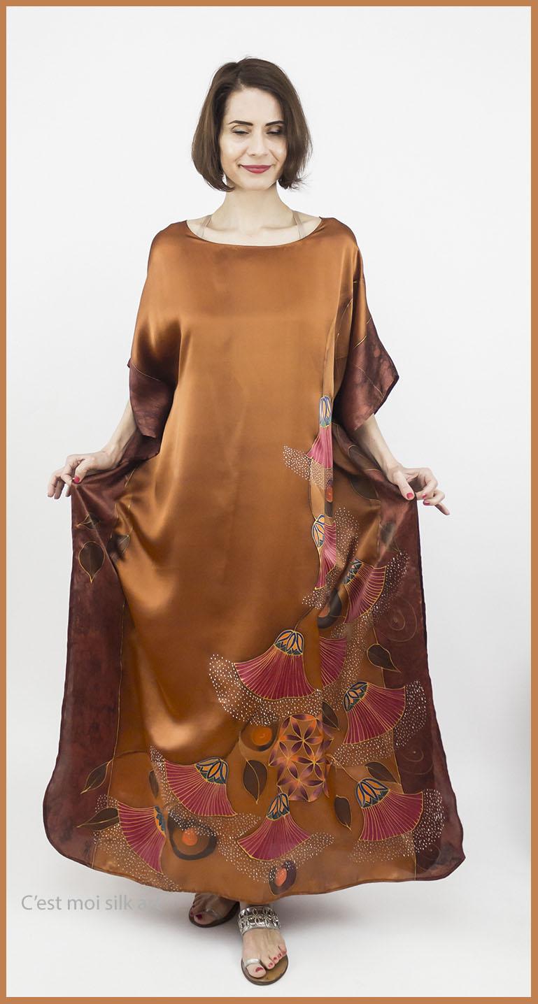 selyem szatén ruha bronz élet virága papiruszokkal 02