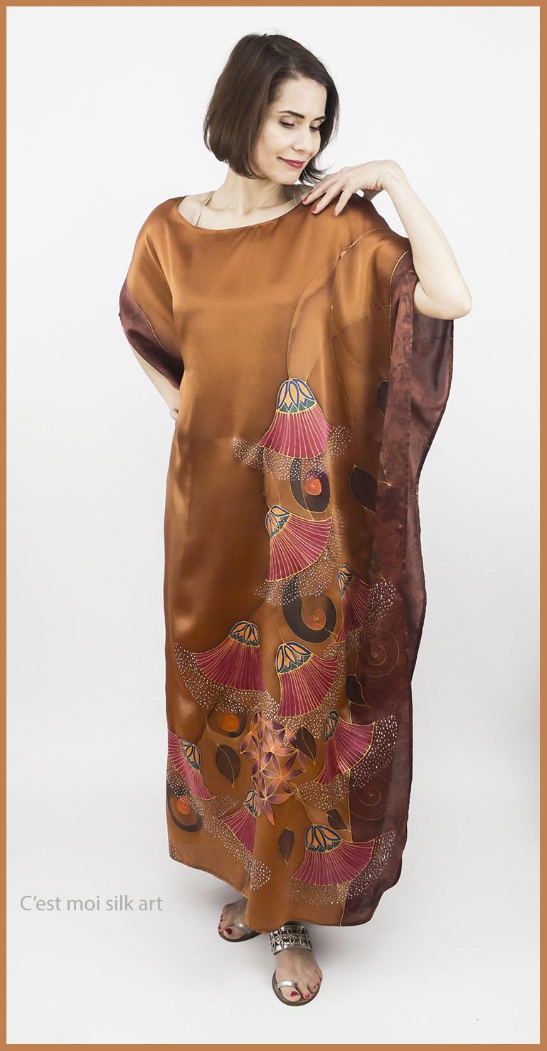 selyem szatén ruha bronz élet virága papiruszokkal 03