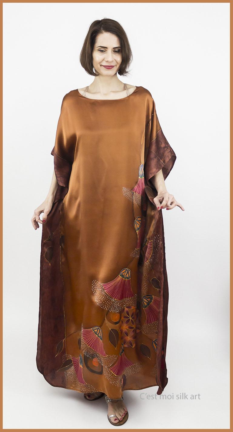selyem szatén ruha bronz élet virága papiruszokkal 04