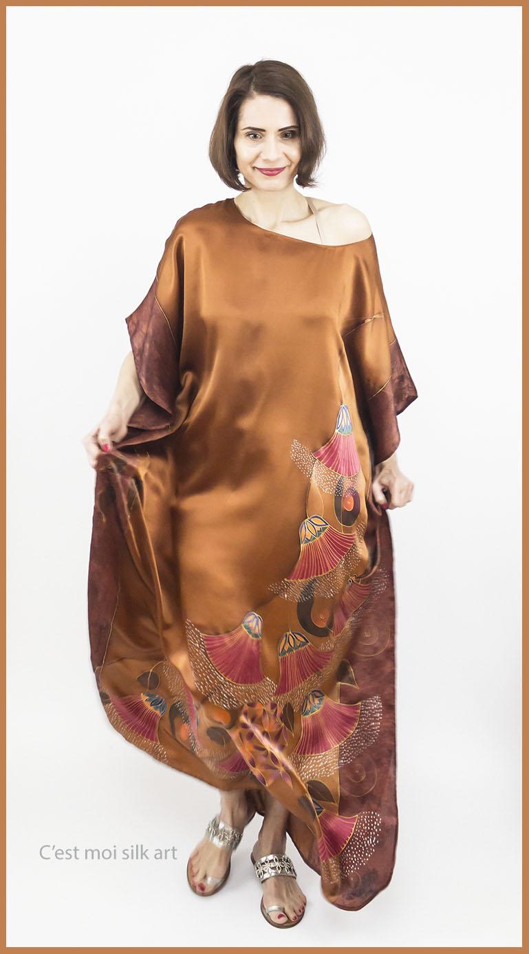 selyem szatén ruha bronz élet virága papiruszokkal 06