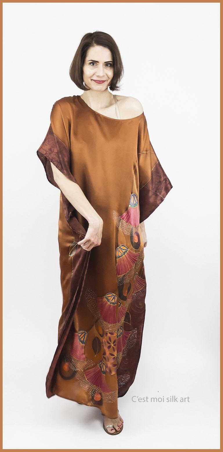 selyem szatén ruha bronz élet virága papiruszokkal 07