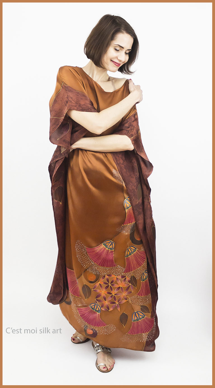 selyem szatén ruha bronz élet virága papiruszokkal 08