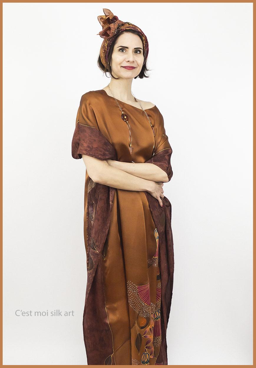 selyem szatén ruha bronz élet virága papiruszokkal 09