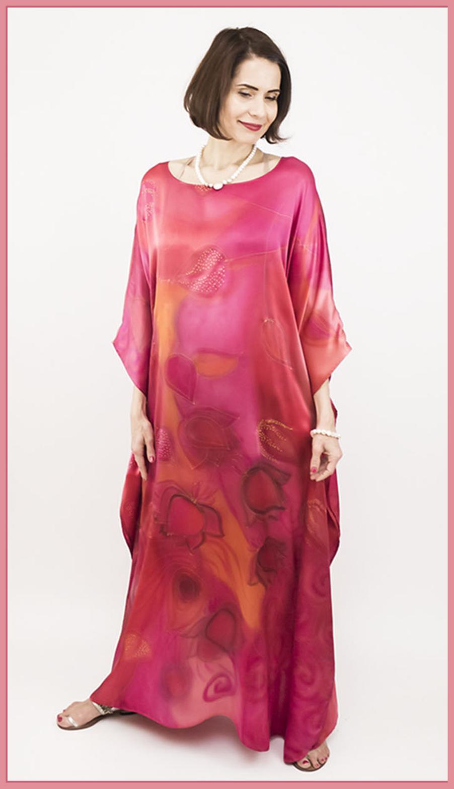 selyem szatén ruha japán újjal ciklámen lótuszok 16