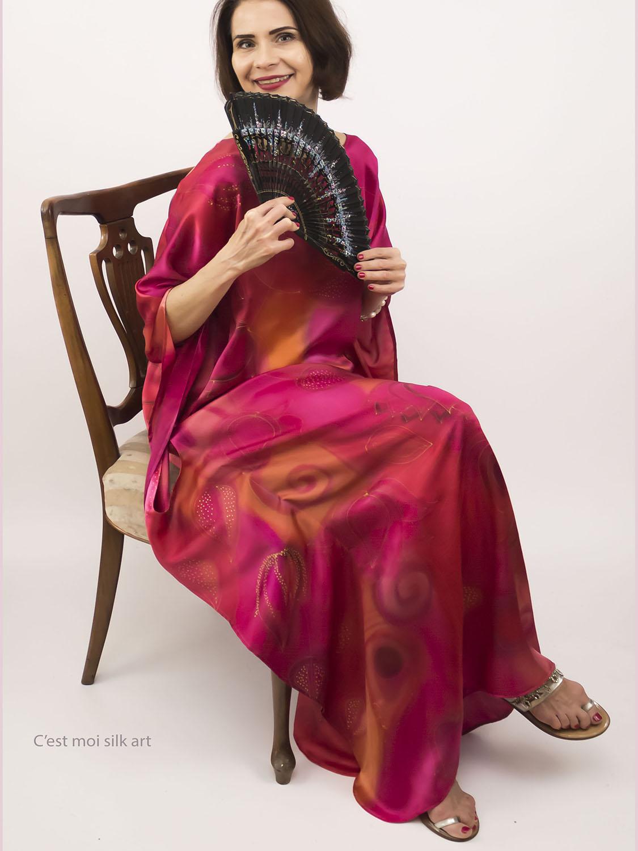 selyem szatén ruha japán újjal ciklámen lótuszok nyitó04