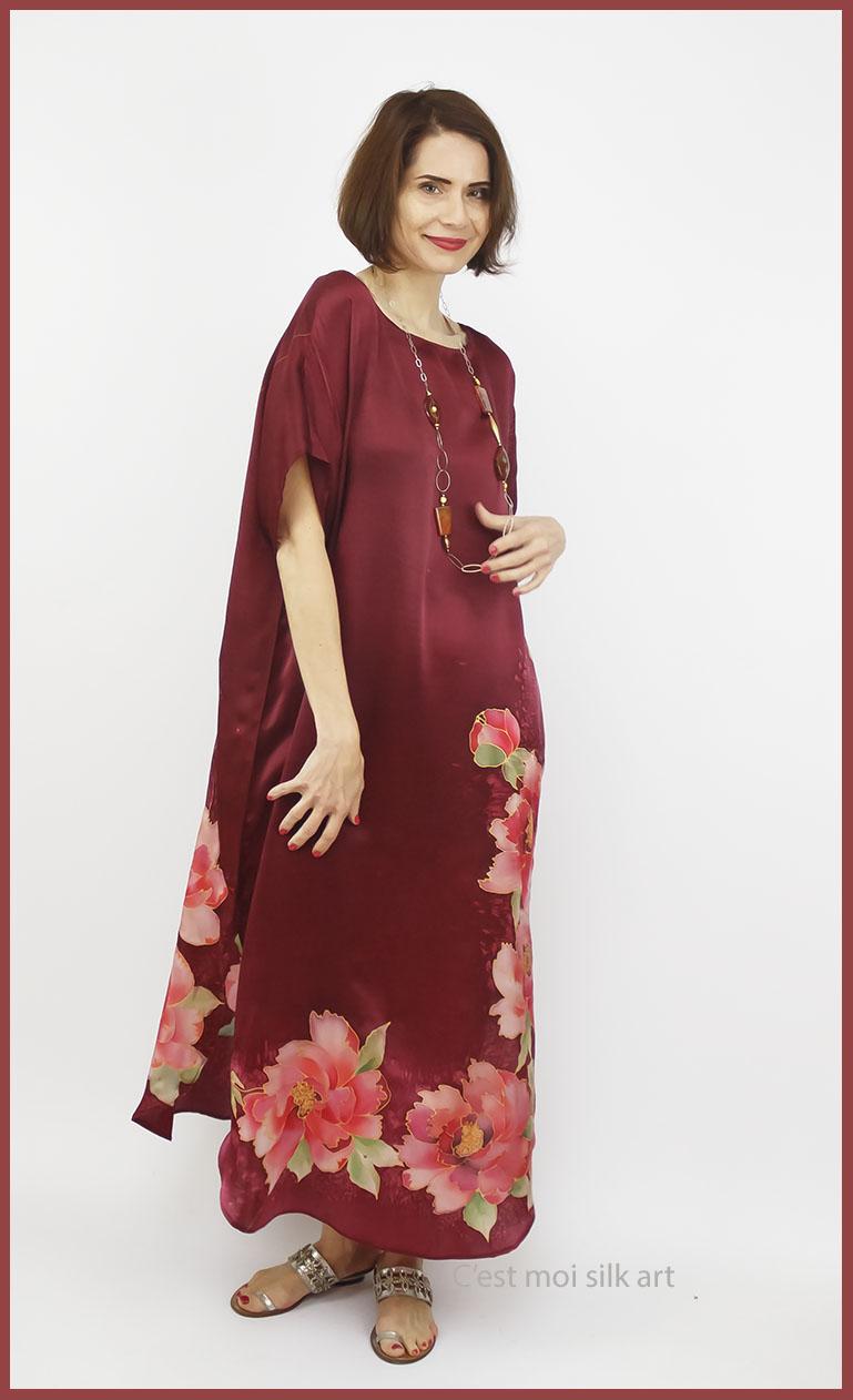 selyem szatén ruha kézi festés bordó tuba rózsával 01