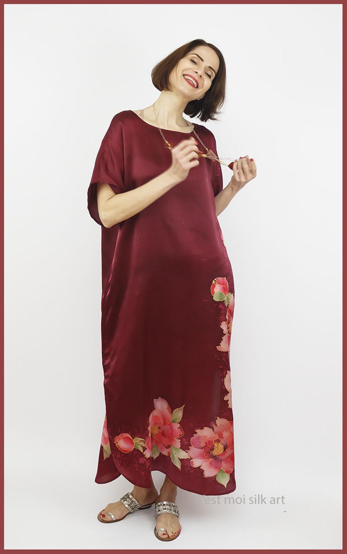 selyem szatén ruha kézi festés bordó tuba rózsával 02