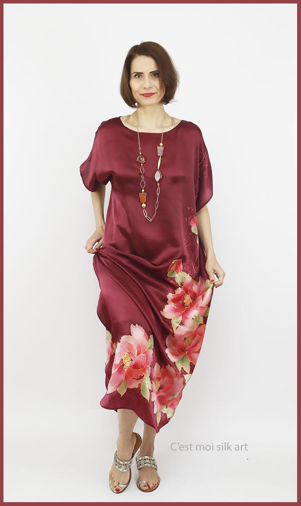 selyem szatén ruha kézi festés bordó tuba rózsával 03