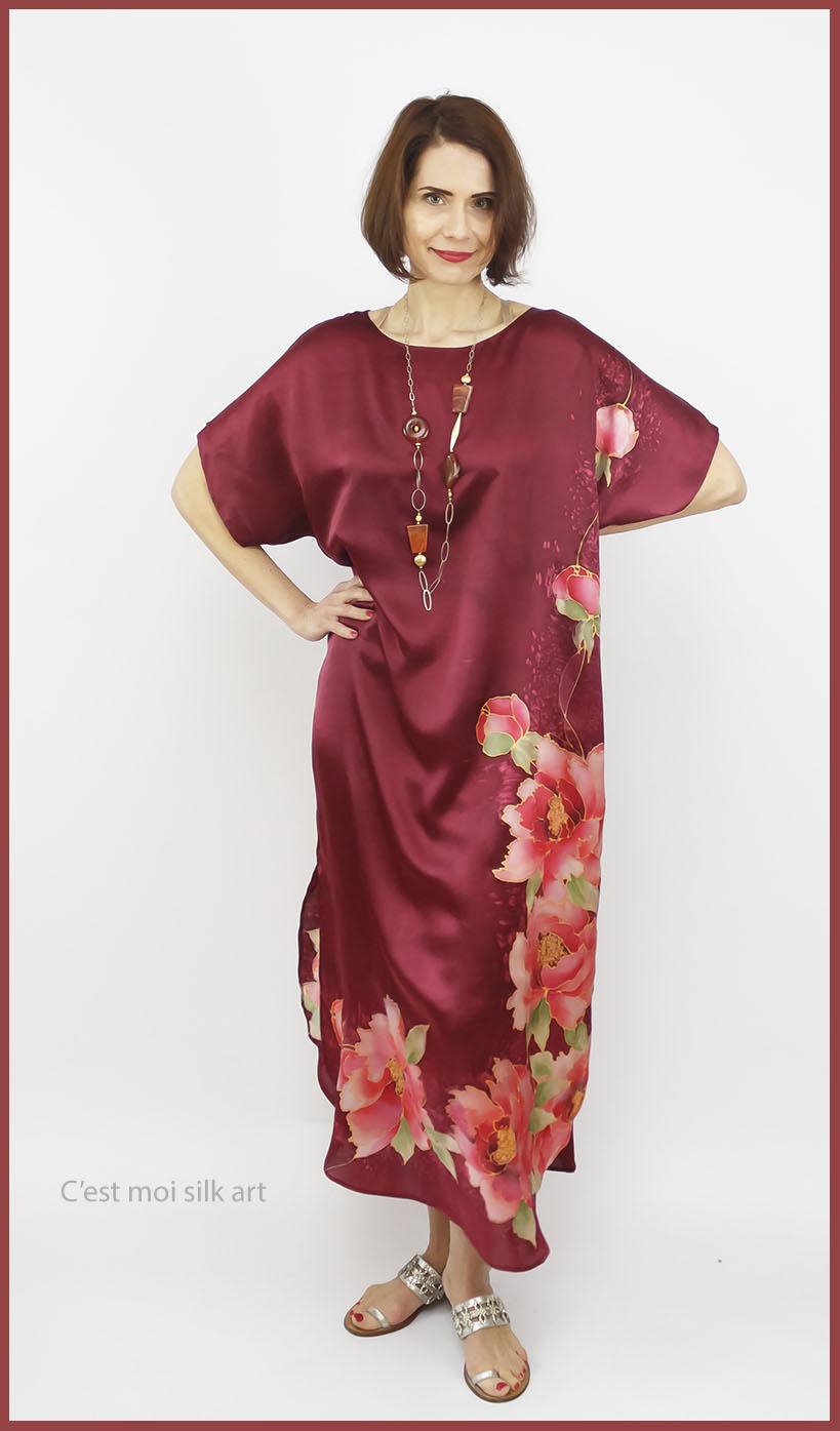 selyem szatén ruha kézi festés bordó tuba rózsával 04