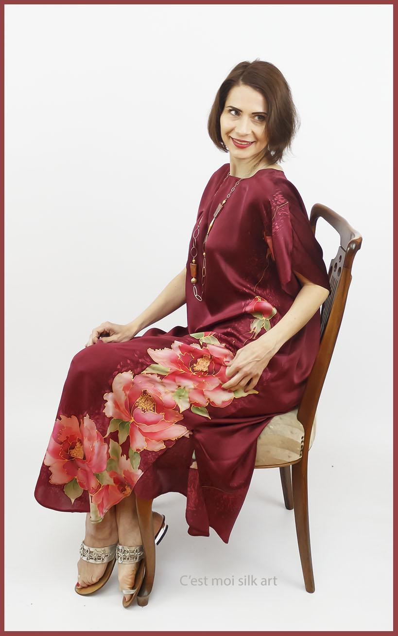 selyem szatén ruha kézi festés bordó tuba rózsával 05