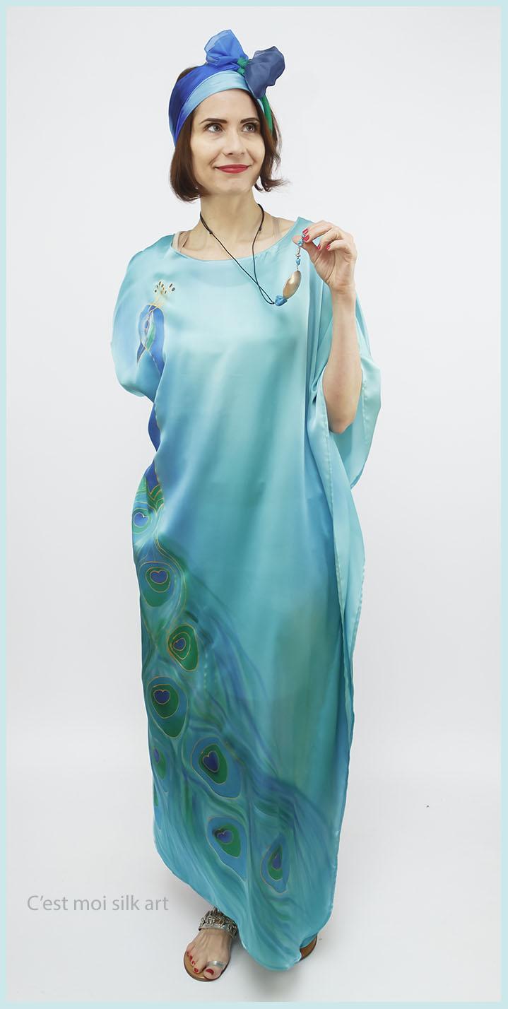 selyem szatén türkiz ruha páva mintás 01