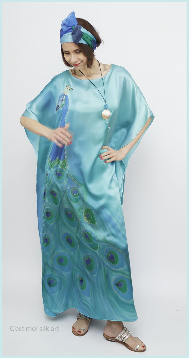 selyem szatén türkiz ruha páva mintás 04