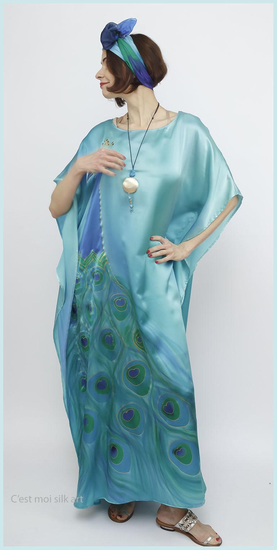 selyem szatén türkiz ruha páva mintás 05
