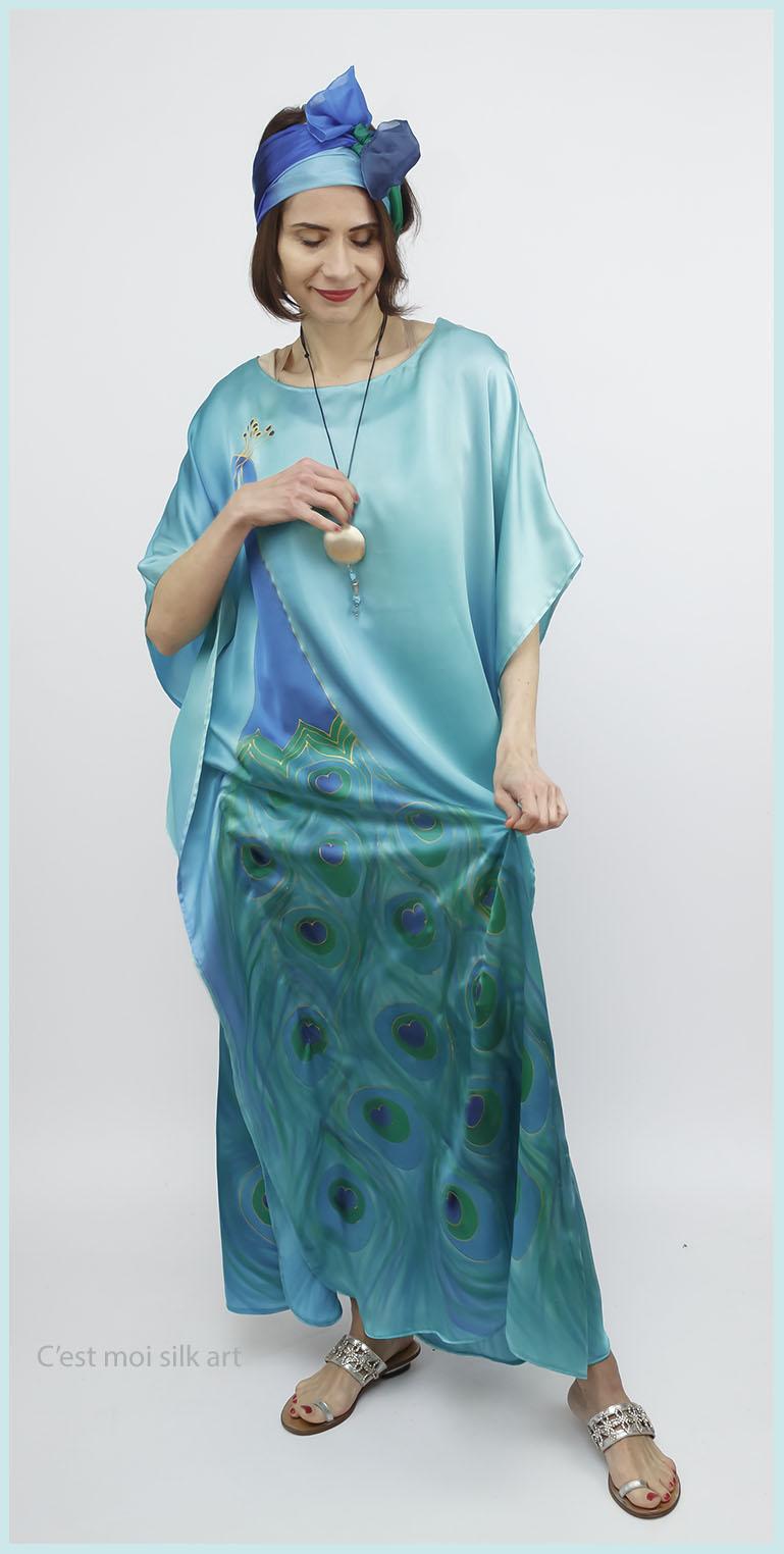 selyem szatén türkiz ruha páva mintás 07