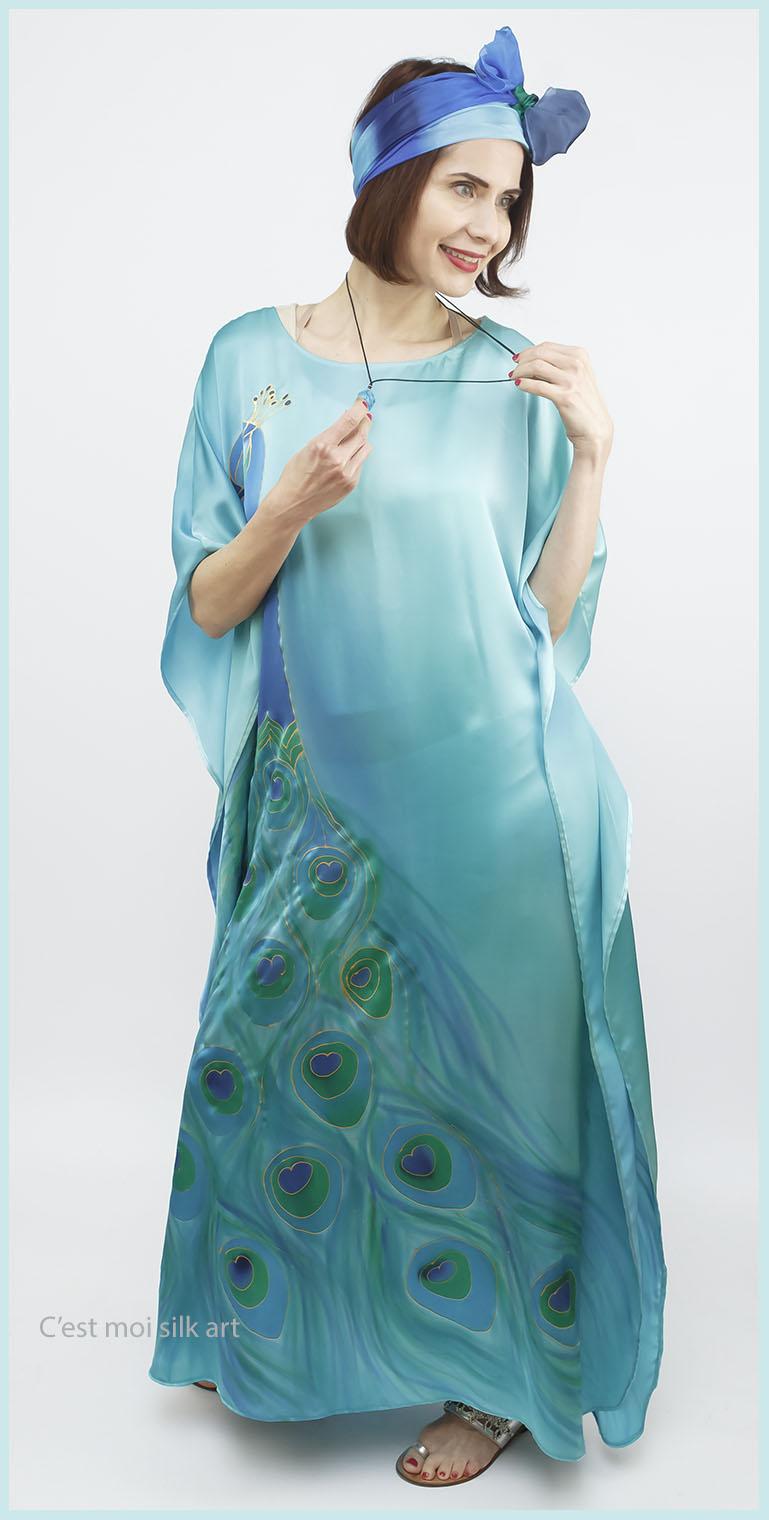 selyem szatén türkiz ruha páva mintás 09