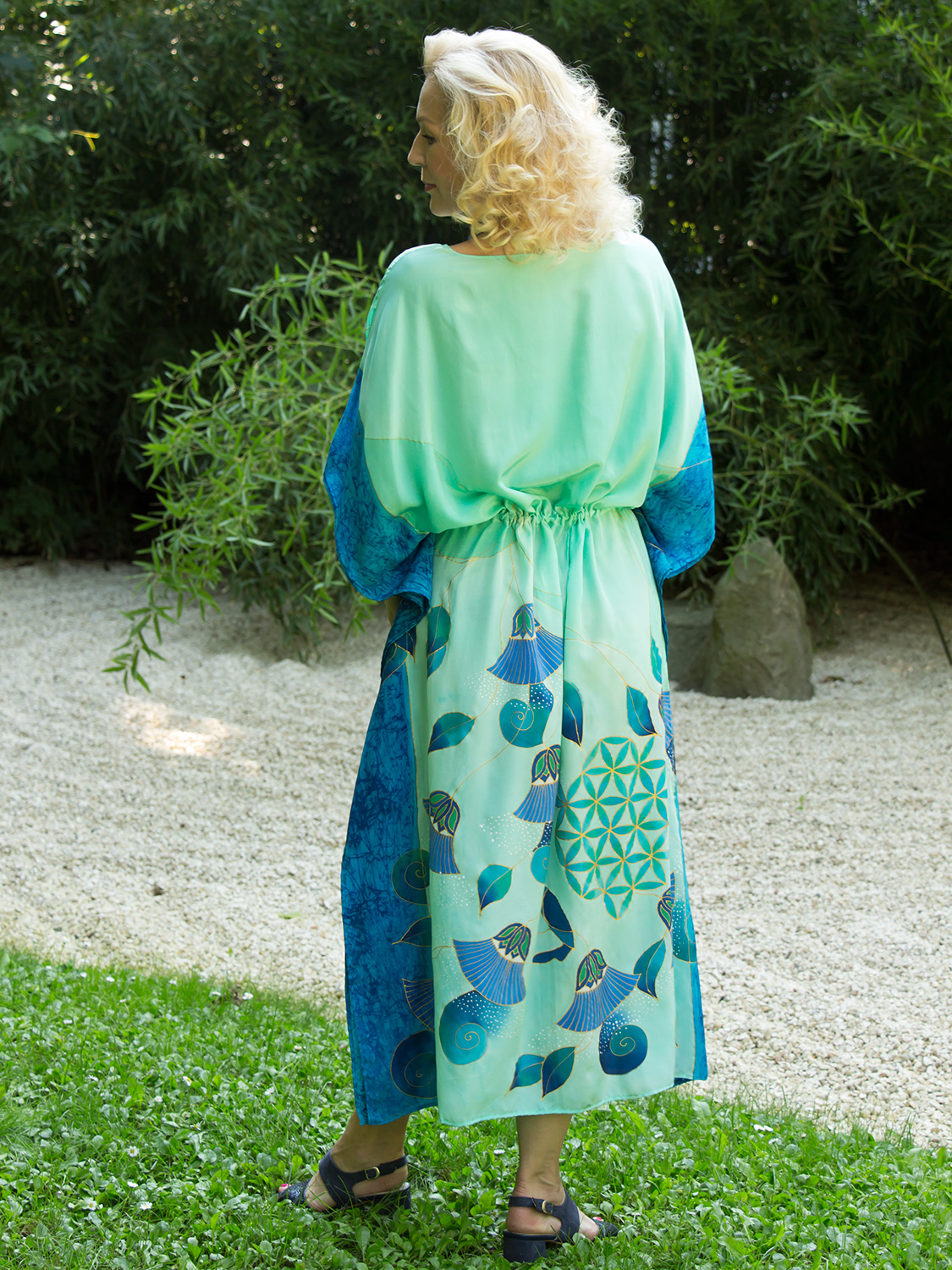 turquoise-silk-dress-with-papyrus-and-flower-of-life-03